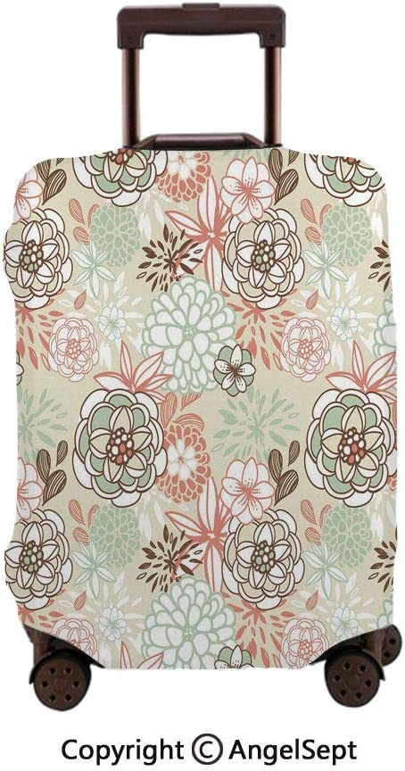 Washable Polyster Travel Luggage Protector,Vintage Romantic Wildflowers in Various Kinds Doodle Drawing Style Love Pale Green Brown Peach,26x37.8inches,Fashion Baggage Suitcase Cover