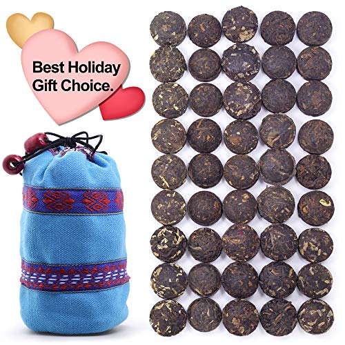 (45pcs-225 steeps-675 cups Aged Puerh Tea - Ripe(Cook) & Raw(Uncook) Pu'erh Tea-Pu-erh Tea -Rice Balls Pu erh Tea - Bird's Nest Shape Pu'er Mini Tuo Cha - 15 Tastes With Gift Bag)