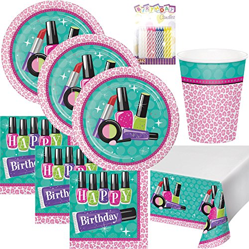 Sparkle Spa Makeup Theme Teen Party Supplies Pack (Serves-16) Plates Napkins Cups and Tablecloth - Teen Beauty Party Supply Tableware Set Kit Includes Birthday Candles