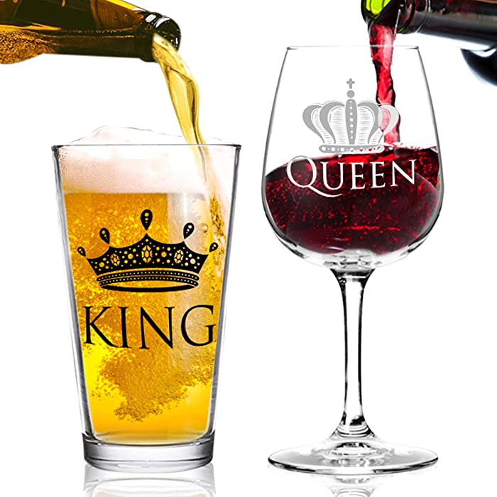 King Beer Queen Wine Glass Gift Set- Gift from Husband to Wife- Present Idea for Bridal Shower, Wedding, Engagement, Anniversary, Newlyweds, and Couples-Him, Her, Mr. Mrs.-Gift for Mom