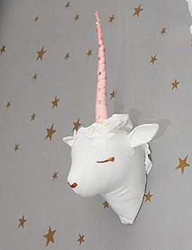 Licorne Decoration Chambre Fille Tete Animaux Murale Peluche