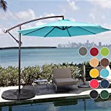 Sundale Outdoor 10 Feet Aluminum Offset Patio Umbrella with Crank and Cross Bar Set, Cantilever Umbrella for Deck, Garden, Backyard, 8 Steel Ribs, 100% Polyester Canopy Shade (Sky Blue) For Sale
