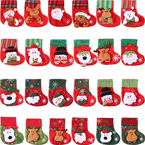 Tatuo 24 Pieces Mini Christmas Stockings, 3D Santa Snowman Silverware Holders, Little Christmas Stockings Gift and Treat Bags Christmas Hanging Socks for Xmas Tree, Home, Garden -