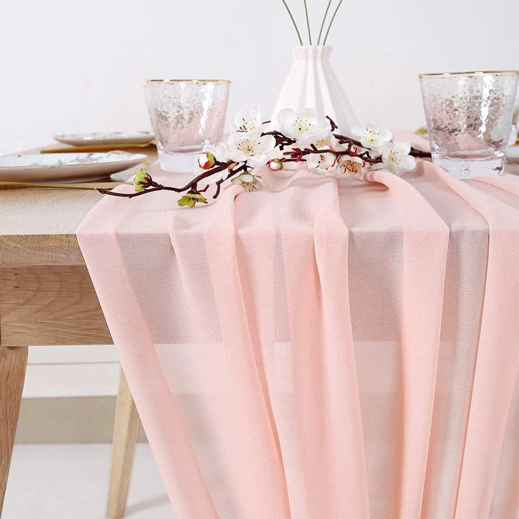 305x70cm Koobysix Chemin de Table en Mousseline de Soie Extra Long et Romantique Approx Mousseline Rose
