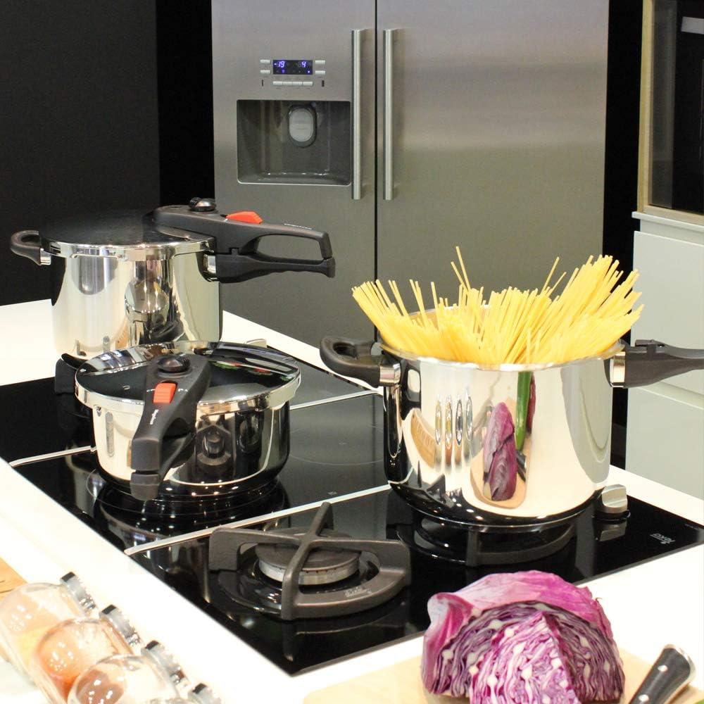 MAGEFESA PRACTIKA PLUS Olla a presión super rápida de fácil uso, acero inoxidable 18/10, apta para todo tipo de cocinas, incluido inducción. Fondo termo difusor encapsulado de 5 capas, excelente distribución del