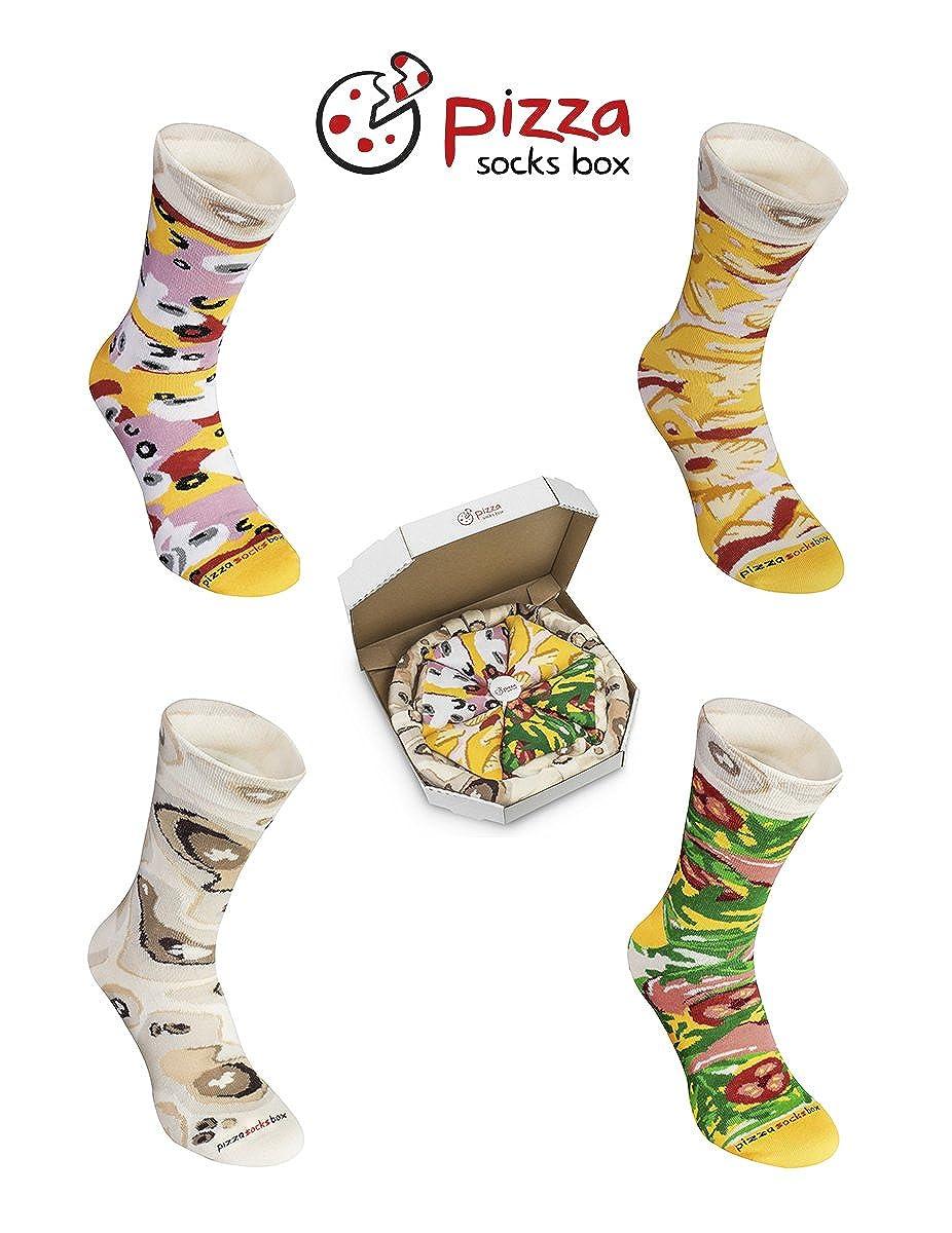 Pizza Socks Box - Pizza MIX Italiana Hawaiana Caprichosa - 4 pares de CALCETINES Divertidos de ALGADON, Unicos y Originales Idea de REGALO| para Mujer y ...