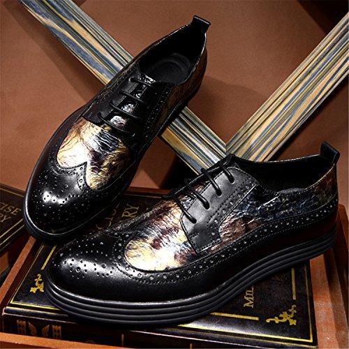 Rainstar Uomo Casual Oxford Scarpe In Pelle Classiche Wing-tip Lace Up Brogue Gold