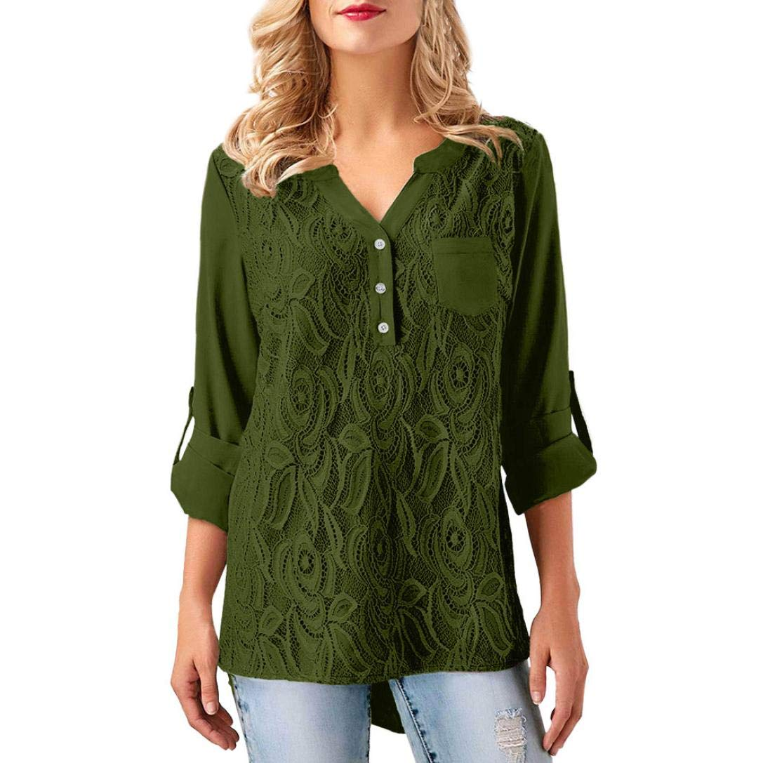 Toimoth Women Lace T-Shirt Long Sleevel Button Blouse Appliques Tops (Army Green,S)