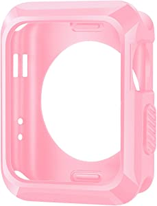 iiteeology Replacement for Apple Watch Case 42mm, Universal TPU Protective Case for Apple iWatch Series 3 Series 2 Series 1 (Matte Pink)