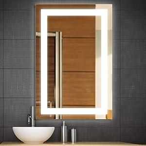 "Bestor Super Bright LED Lighted Bathroom Mirror with Anti Fog丨Vertical Horizontal Wall Mount丨24 x 36"" High Lumen Hardwired Vanity Backlit LED Makeup Mirror"