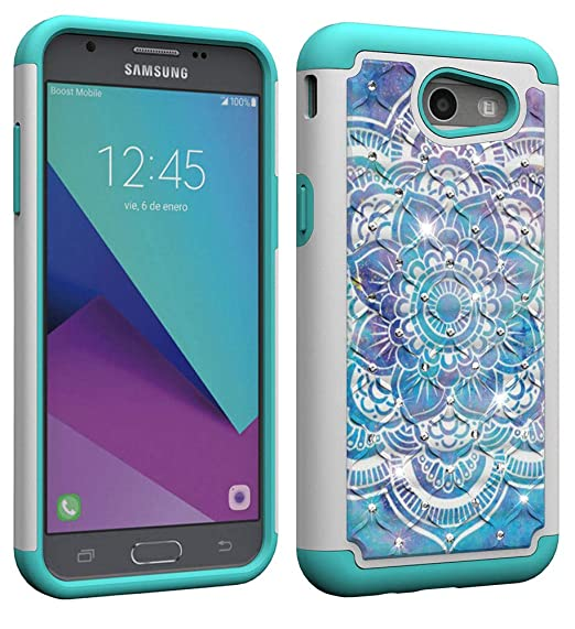 NVWA Compatible Galaxy J3 2017 Case US Version J3 Prime/J3 Emerge/Express  Prime 2/Amp Prime 2/J327 Tough Dual Layer Rubber Hybrid Hard Back  Protective