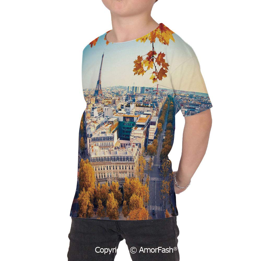 Fall Childrens Classic Basic Printed Ultra Comfortable T-Shirt,Aerial View of