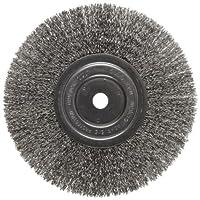 "Weiler Trulock Narrow Face Wire Wheel Brush, Round Hole, Stainless Steel 302, Crimped Wire, 8"" Diameter, 0.0118"" Wire Diameter, 5/8"" Arbor, 2-1/16"" Bristle Length, 3/4"" Brush Face Width, 6000 rpm"
