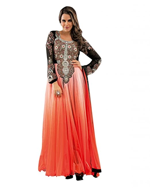 4fe386ab9b Ctc Mall Women Faux Georgette Dress Material (1850861 _Orange & Black):  Amazon.in: Clothing & Accessories