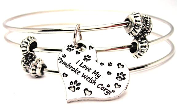 Review ChubbyChicoCharms I Love My Pembroke Welsh Corgi Heart Expandable Wire Triple Style Bangle Bracelet, 2.5""