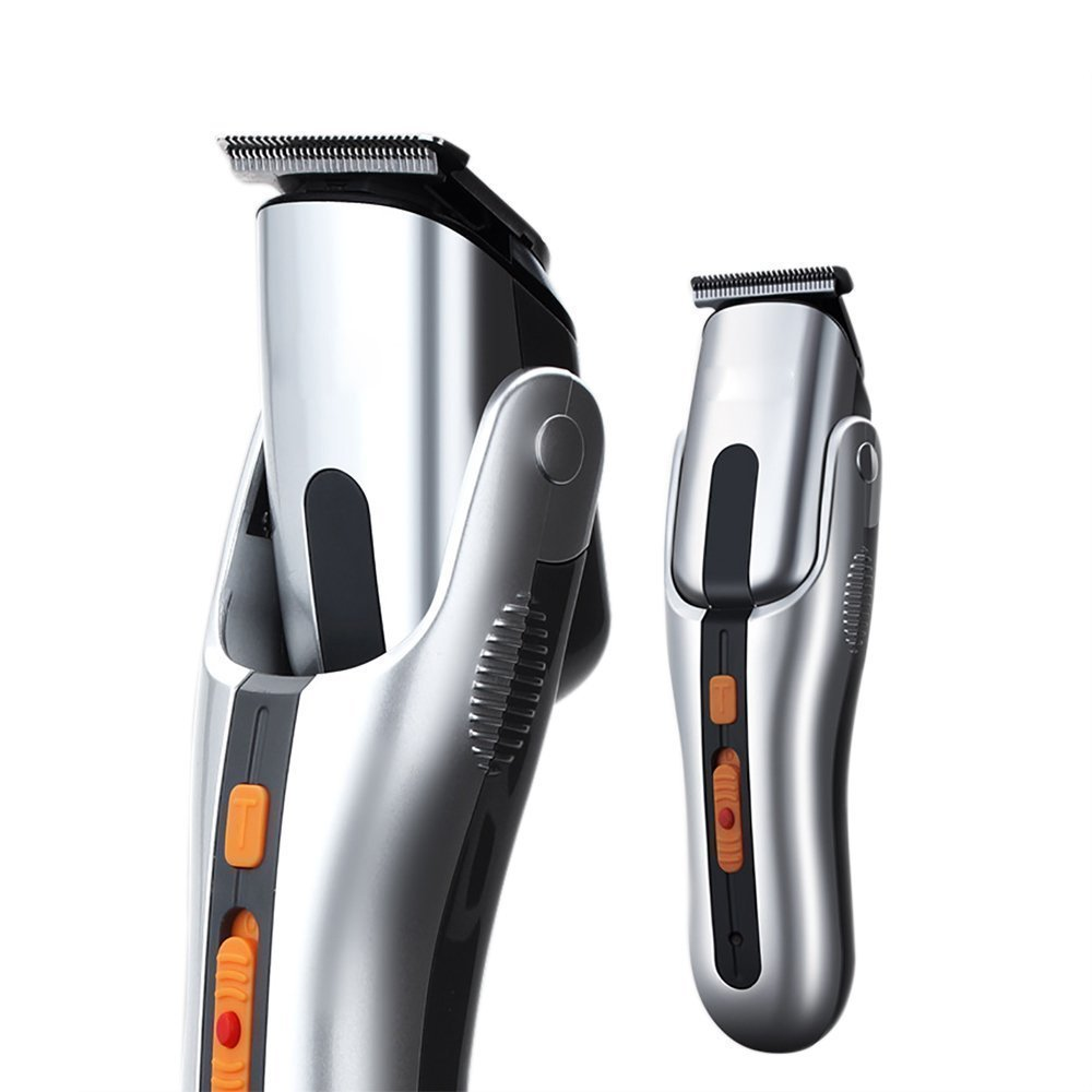PowMax WW-38 Mulfunctional Powered Razor Trimmer for Head, Face, Nose, Electric Men Razors, Shavers,Hair Trimmer,Electric Shaver Kit for Men (8 Attachments) (WW-61, Silver)