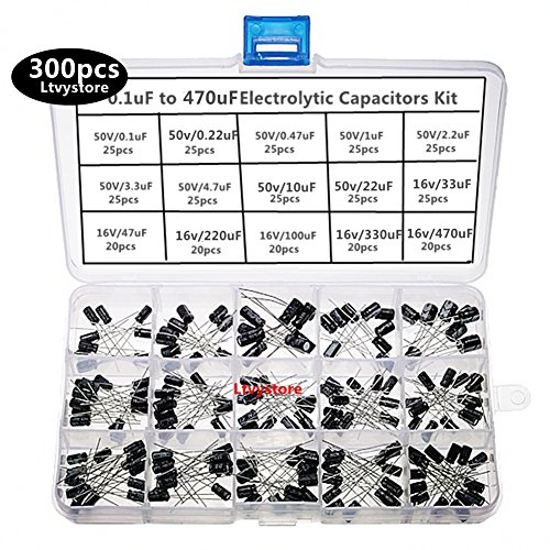 (Electrolytic Capacitors Kit, Radial Capacitor Assorted Assortment Box Set Black 16V 50V, Range 0.1uF-470uF, Pack of 300, By Ltvystore)