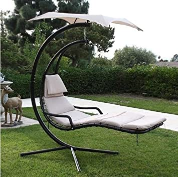 Hanging Helicopter Dream Lounger Chair Arc Stand Swing Hammock Chair Canopy Tan & Amazon.com : Hanging Helicopter Dream Lounger Chair Arc Stand ...