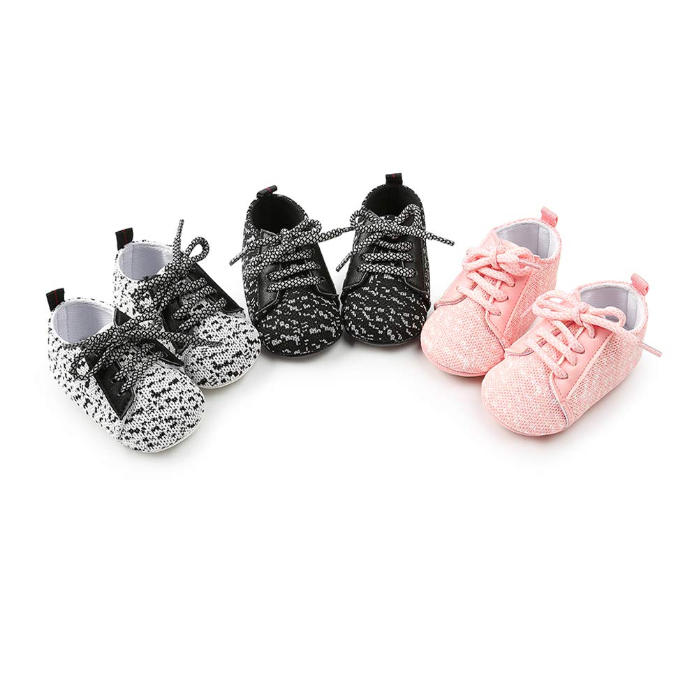 YOHA Infant Baby Boys Super Soft Cotton Anti-Slip Sole Lace-up Toddler Sneaker Shoes