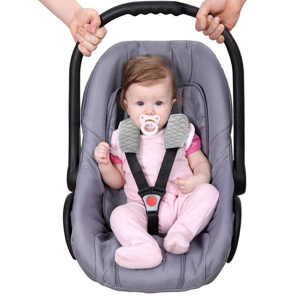 Car Seat Strap Covers Soft Seat Stroller Belt Cushion Newborns and Kids 2 Pack