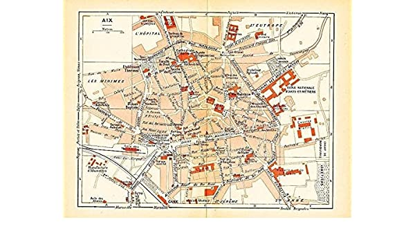 Amazon.com: Aix France 1943 World War II lithograph city ...