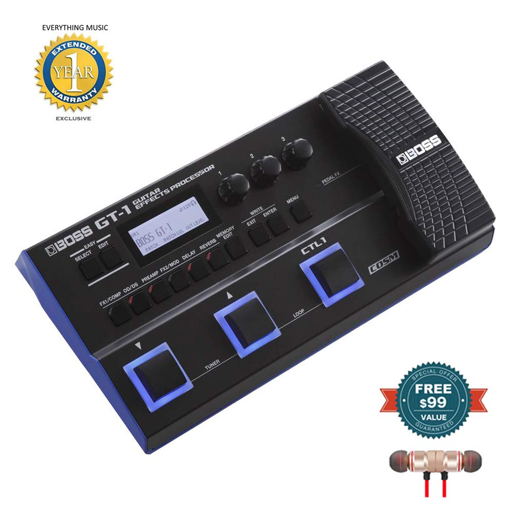 Boss GT-1 Guitar Effects Processor includes Free Wireless Earbuds - Stereo Bluetooth In-ear and 1 Year Everything Music Extended Warranty