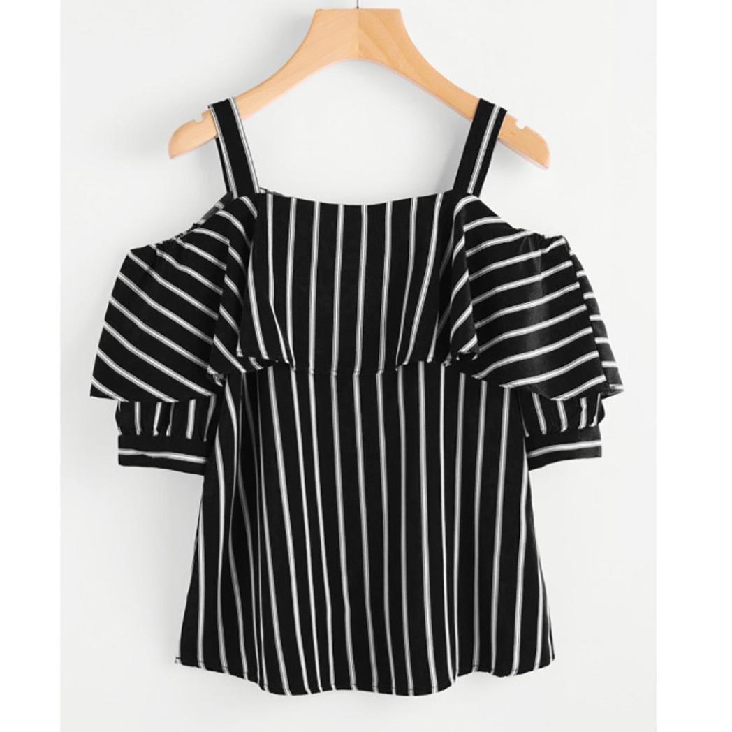 Longra☆Mujeres de la moda fuera del hombro volantes sin tirantes de la raya de la camiseta de la impresión blusa Top camisetas mujer originales: Amazon.es: ...
