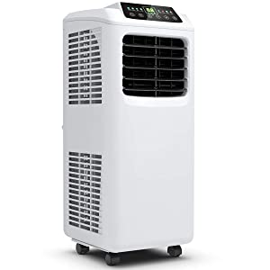 COSTWAY 10000 BTU Portable Air Conditioner with Remote Control, Energy Efficient for Rooms Up to 400 Sq. Ft, Cooling, Dehumidifying, Fanning, Sleeping Mode, Time Settings, Water Full Indication