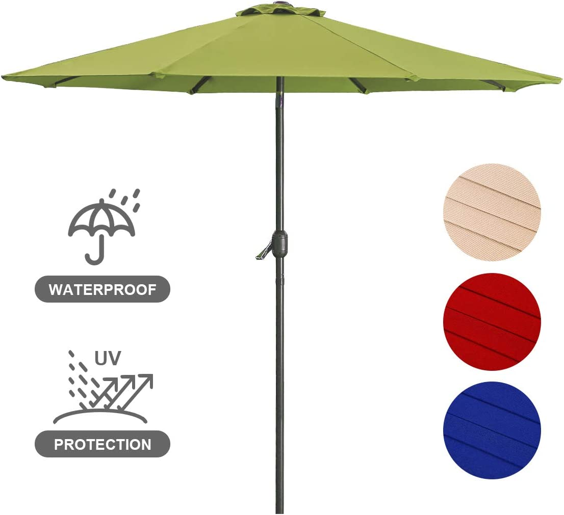 Patio Umbrella 9FT Upscale Garden Outdoor Umbrella with 8 Sturdy Steel Ribs Crank System and Angle Tilt Adjustment Function, Shade Weatherproof Backyard Umbrella-Lime Green