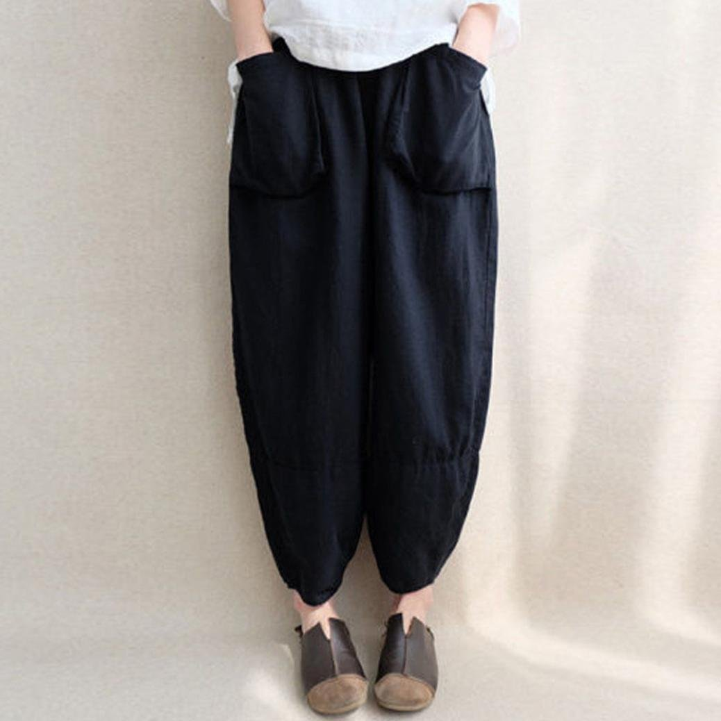 8980939896 Amazon.com : Sikye Casual Harem Pants, Womens Loose Ethnic Plus Size Cotton  Linen Trousers with Pockets - Solid Color : Clothing