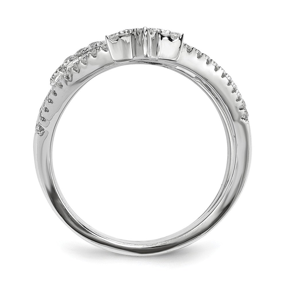 Lex /& Lu Sterling Silver w//Rhodium CZ Star Ring LAL125403