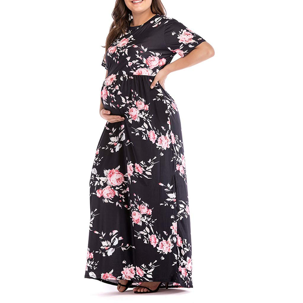 bd31e36a346 Womens Pregnancy Short Sleeve Floral Print Maxi Party Dresses Plus Size  Maternity Sundress Dress at Amazon Women s Clothing store