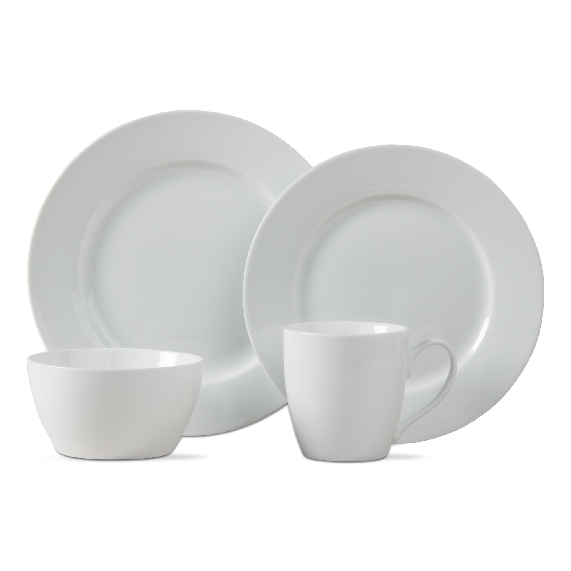 tag - Bliss Porcelain Dinnerware Set, Restaurant-Grade Porcelain that is Perfect for Everyday Use, White (16 Piece Set)