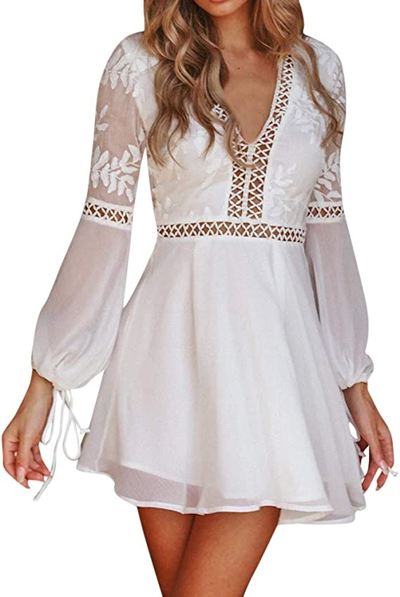 2018 Spring Summer Teenager Girls Dress Long Sleeve Crew Neck Hollow Lace Dress