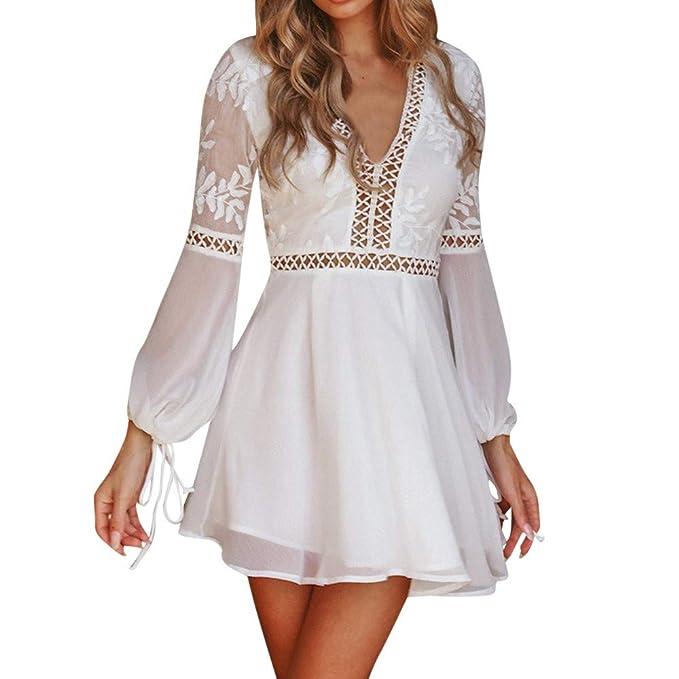quality design eb881 430d2 Weant Vestiti Donna Elegante Cerimonia Bianco Pizzo Senza Schienale Scollo  V Abiti Donna Abbigliamento Donna Estivo Vestiti Donna Invernali Vestito ...