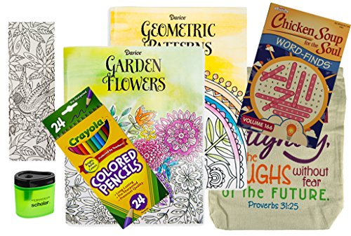 get-well-soon-gift-for-women-2-adult-coloring-books-colored-pencils-24-color-your-own-bookmark-sharp