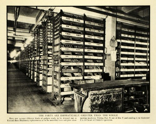 1933 Print United Shoe Machinery Parts Boston Footwear Industry Aikins Stock - Original Halftone Print