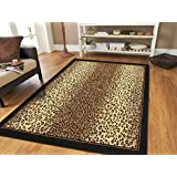 Brown Checkered Cheetah Rug Animal Long 2x8 Runner For Hallway Narrow 2x7 Runners