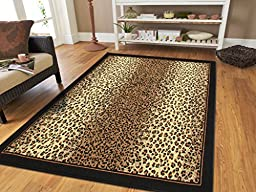 Brown Checkered Cheetah Rug Animal Print Rectangle Leopard Rug 5x7 Rug Brown Black Cream Rugs Leopard 5x8 Modern Rugs for Living Room (Medium 5\'x8\' Rug)