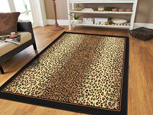 Brown Checkered Cheetah Rug Animal Print Rectangle Leopard Rug 5x7 Rug Brown Black Cream Rugs Leopard 5x8 Modern Rugs for Living Room (Medium 5'x8' Rug) (Rug Leopard)