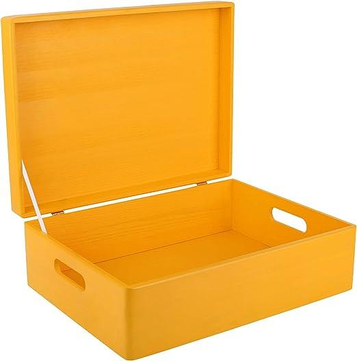Creative Deco XL Amarilla Grande Caja de Madera para Juguetes | 40 ...
