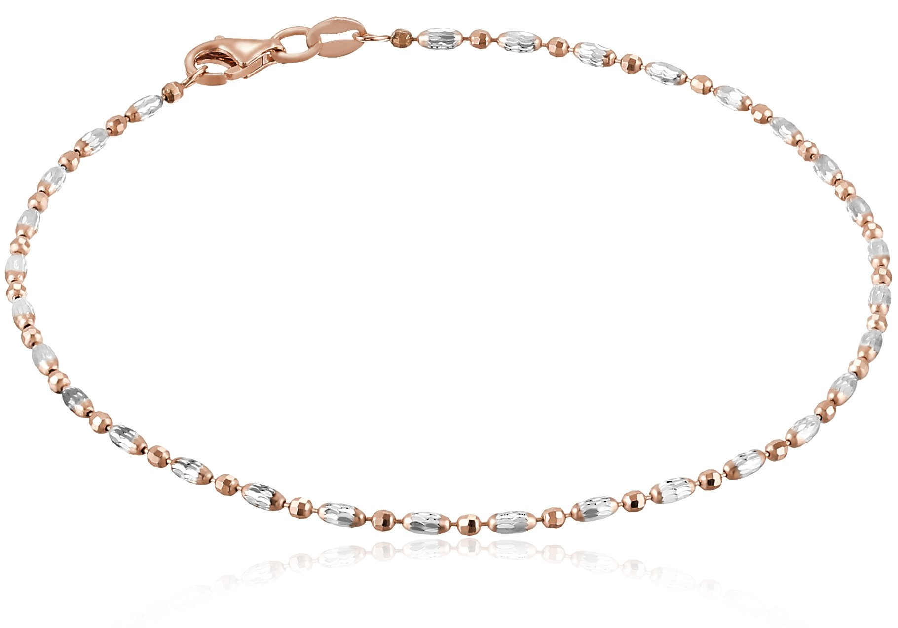 Italian Rose-Tone and Polished Sterling Silver Mezzaluna Chain Anklet, 10''