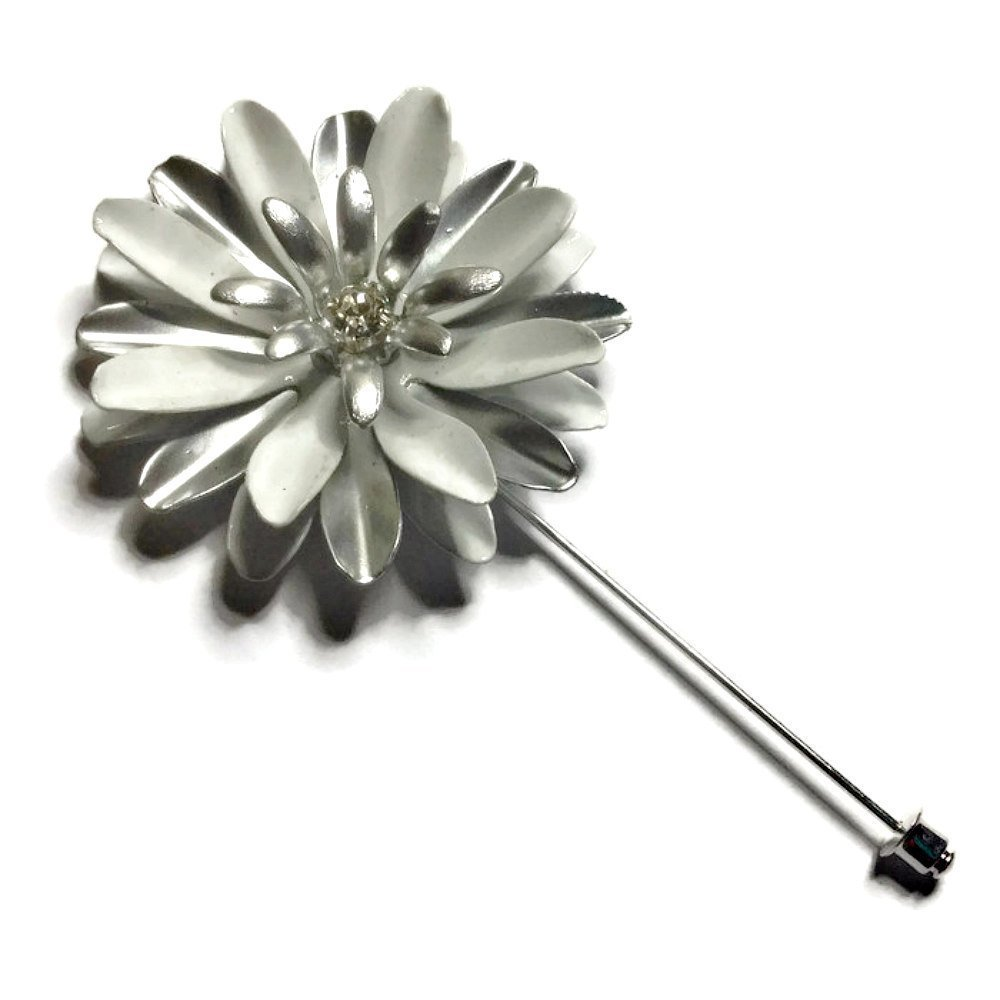 Flared Daisy White and Silver Tone Enamel Metal Lapel Flower Pin