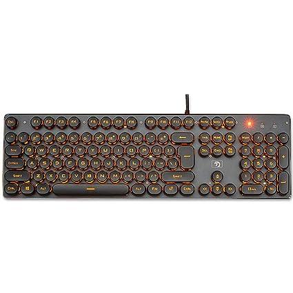 Guanwen Gaming Mechanical Feel Keyboard, con conexión de Cable óptico, Naranja, retroiluminado,