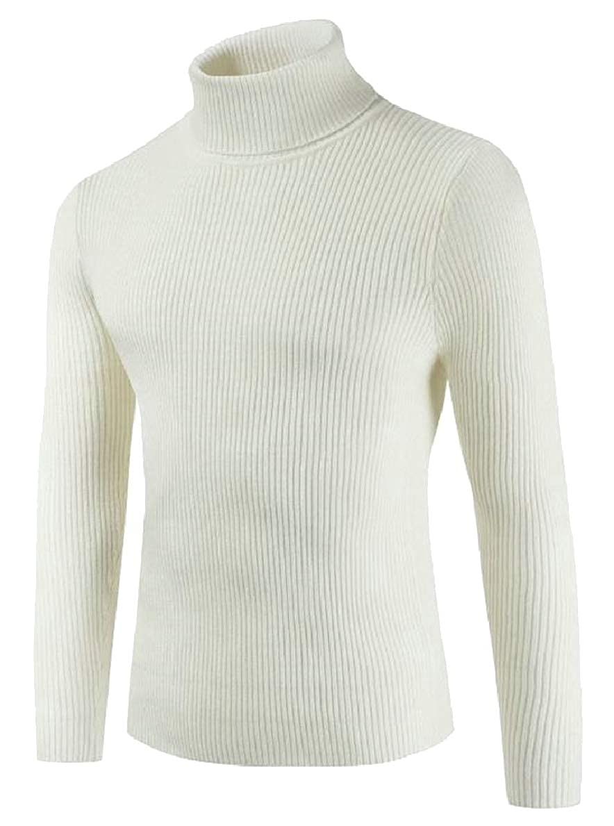 FLCH+YIGE Mens Slim Solid Knit Long Sleeve High Neck Pullover Sweater