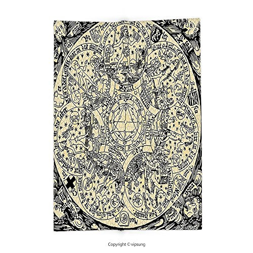 Custom printed Throw Blanket with Astrology Decorations Series Of Ancient Mystic Esoteric Old Map With Man Figures Vintage Symbols Decor Decores Ecru Black Super soft and Cozy Fleece Blanket