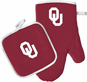 Pro Specialties Group Oven Mitt and Pot Holder Set - Barbeque BBQ Kitchen Backyard Outdoors - NCAA - Oklahoma Sooners