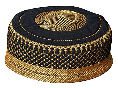 X-Large 23.5-inch Black Metallic Gold Embroidered Padded & Quilted Soft Kufi Hat Skull Prayer Cap (Kufi Hats Indonesia Style)