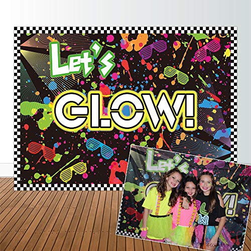 Allenjoy 7x5ft no Creases Let's Glow in The Dark Theme Birthday Backdrop for Adult Teen Blacklight Tween Neon Doodle Disco Rainbow Sleepover Party Table Decor Banner Background Children Photo Booth ()