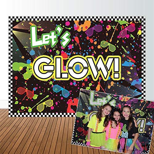 Allenjoy 7x5ft no Creases Let's Glow in The Dark Theme Birthday Backdrop for Adult Teen Blacklight Tween Neon Doodle Disco Rainbow Sleepover Party Table Decor Banner Background Children Photo -